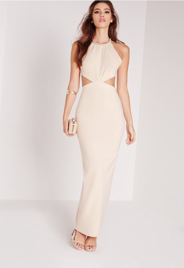 Embellished Neck Cut Out Maxi Dress Nude - Missguided | Formal ...