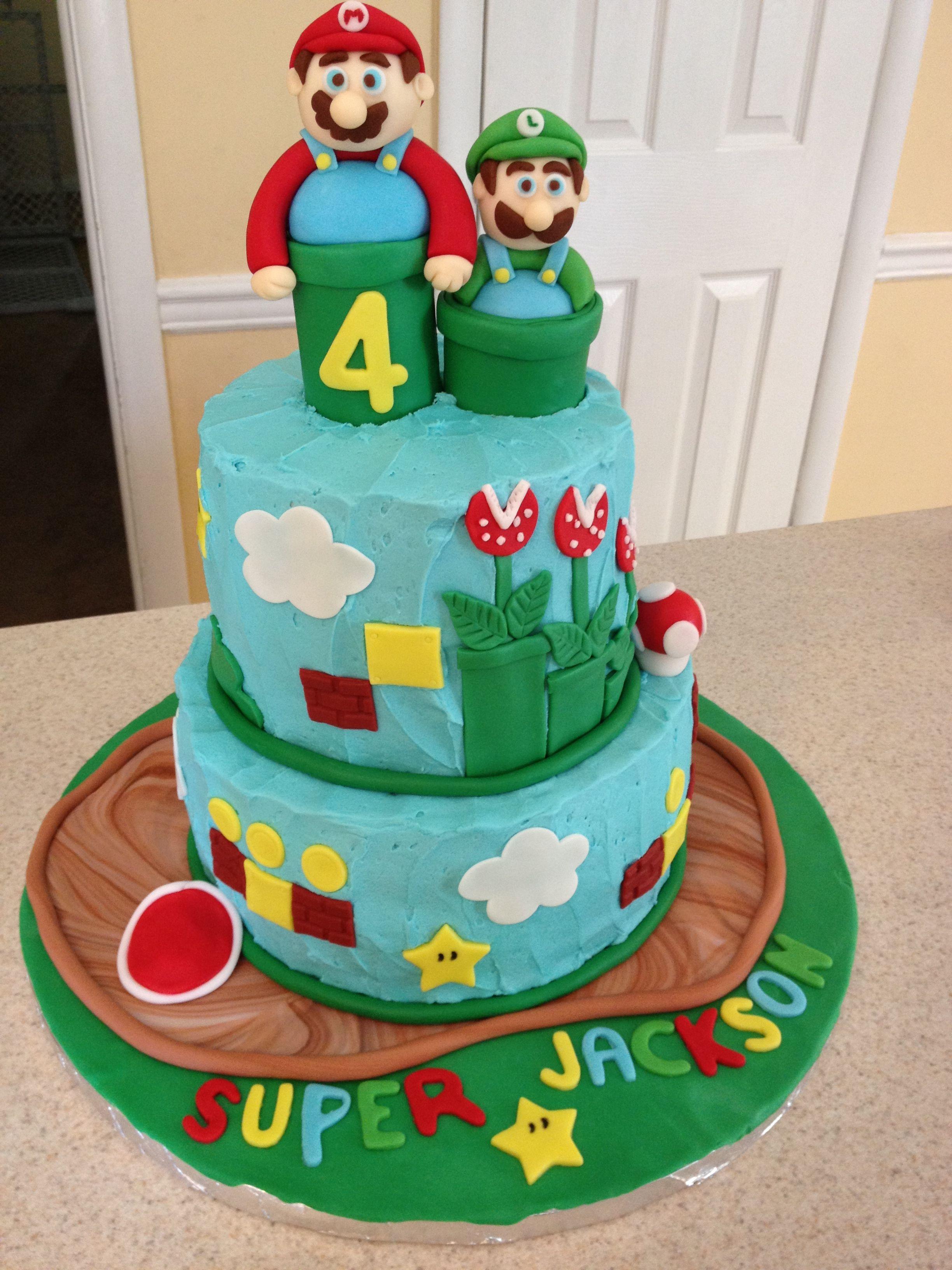 Mario And Luigi Birthday Cake Buttercream With Fondant