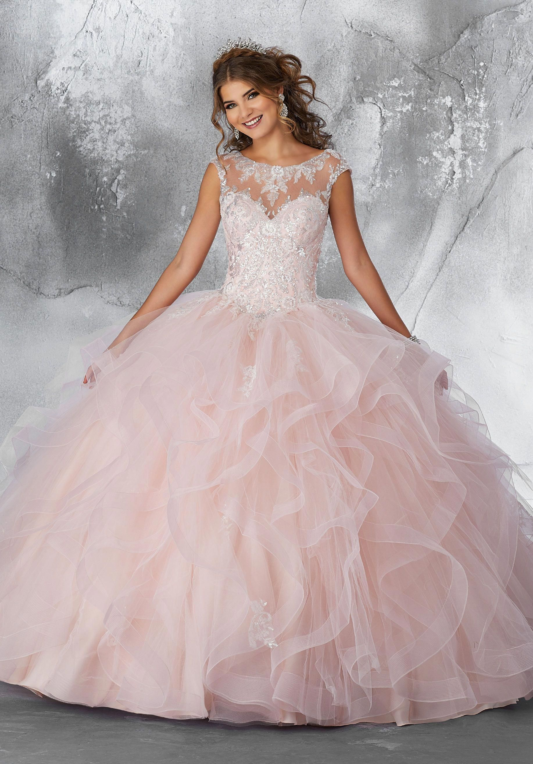 Ball gown wedding dress with bling  Patterned Sequins on a Flounced Tulle Ballgown  Style