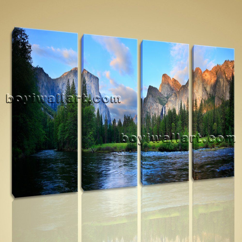 Large Living Room Paintings Large Yosemite Valley Landscape Painting Hd Giclee Printed On
