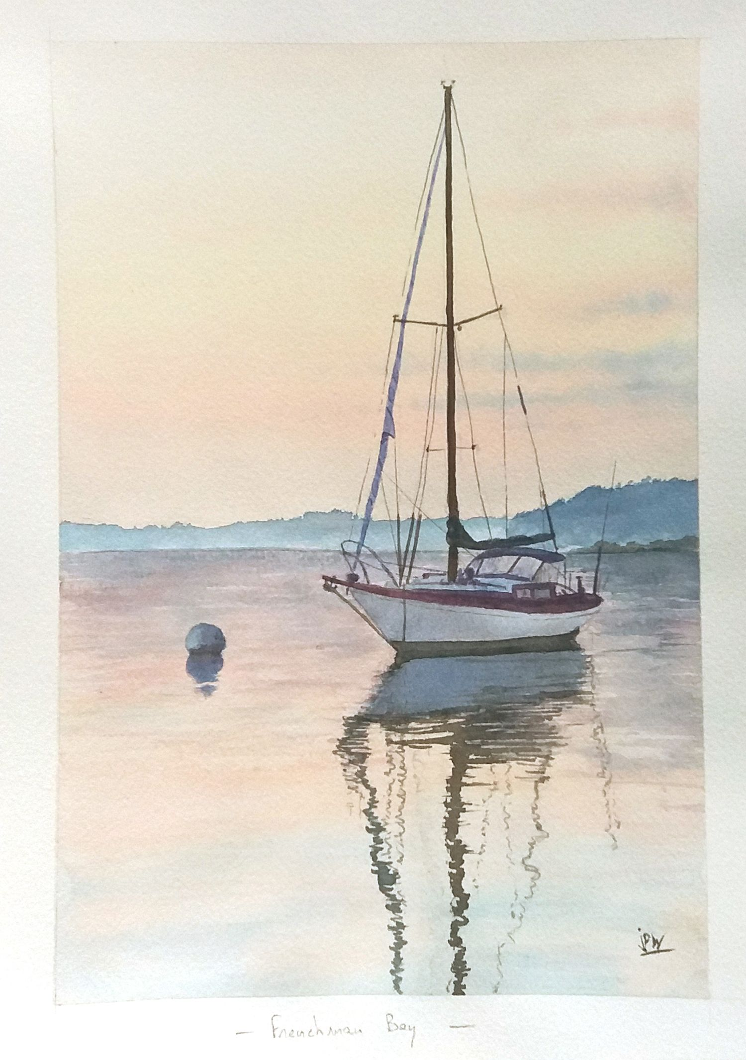 Water Reflection Nautical Painting Watercolor Sailboat Sunset