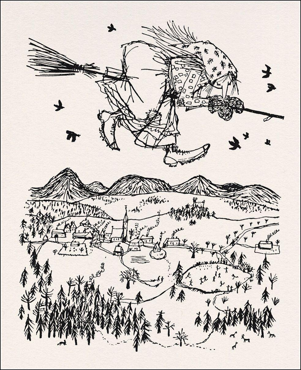 Die kleine Hexe v Otfried Preußler 1957 Illust v