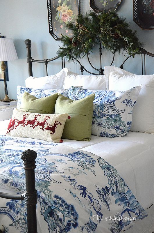 Housepitality Designs: Blue And White-Guest Room-Christmas-Housepitality Designs
