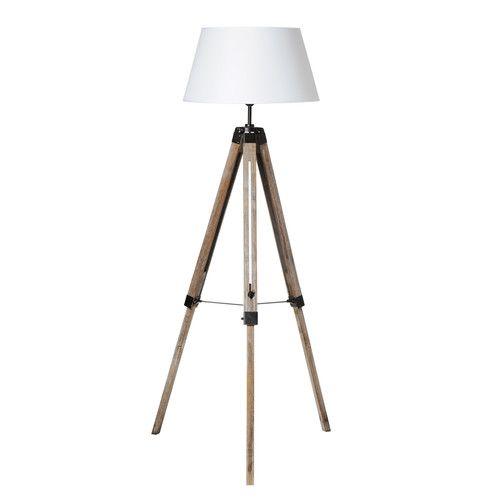 lampadaire trépied en bois et tissu h 146 cm jersey | nos