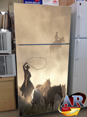 cowboy refrigerator wrap this may be taking the western theme a little too far a western. Black Bedroom Furniture Sets. Home Design Ideas