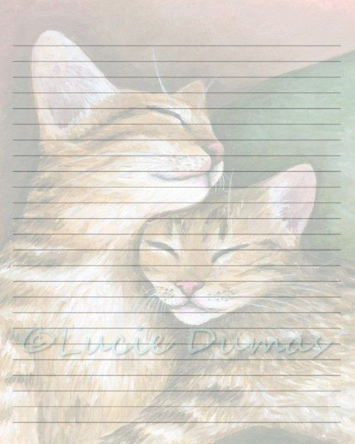 Digital Printable Journal writing lined Page Cat 603 Stationary - lined page template