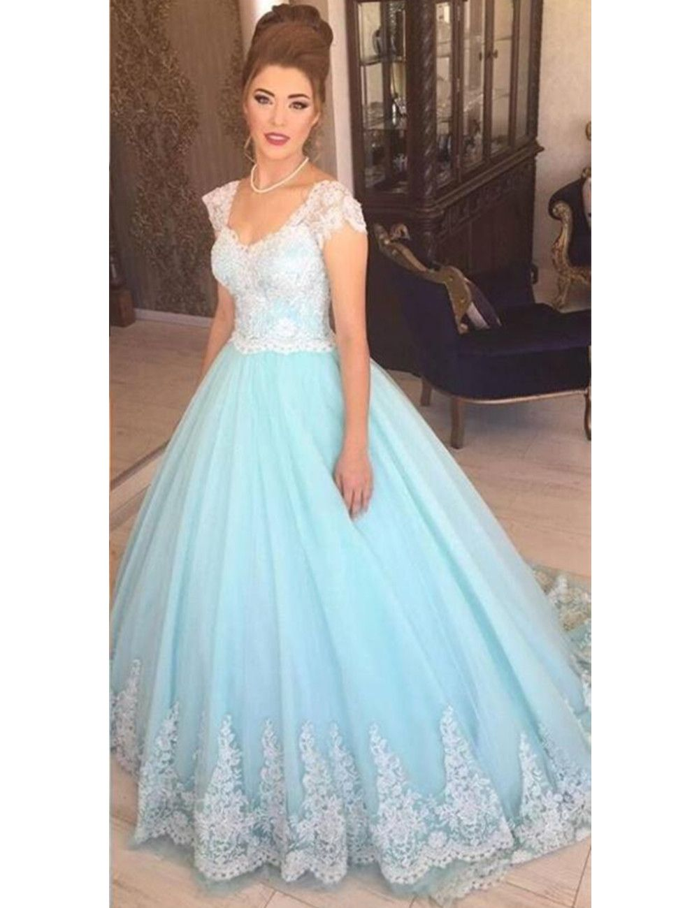 Light blue dress for wedding  Click to Buy ucuc Ball Gown White and Light Blue Wedding Dresses Cap