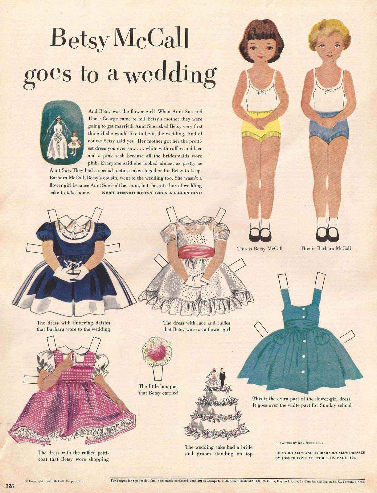 betsy mccall paper doll sheet from mccall s magazine january 1952