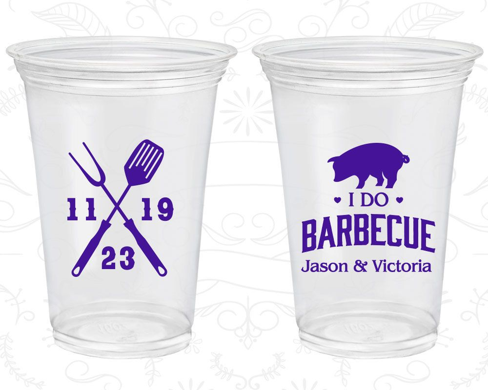 I Do BBQ, Disposable Cups, I Do Barbecue, Wedding BBQ, BBQ Pig, Soft Sided Cups (10)