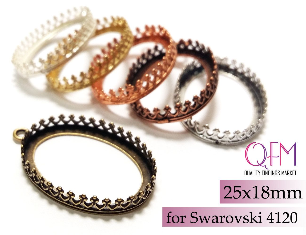 4pcs Oval Crown Bezel Cup 25x18mm Brass with 2 loops Finishes Antique  Shiny Silver plated Antique  Shiny Brass Antique  Shiny Copper