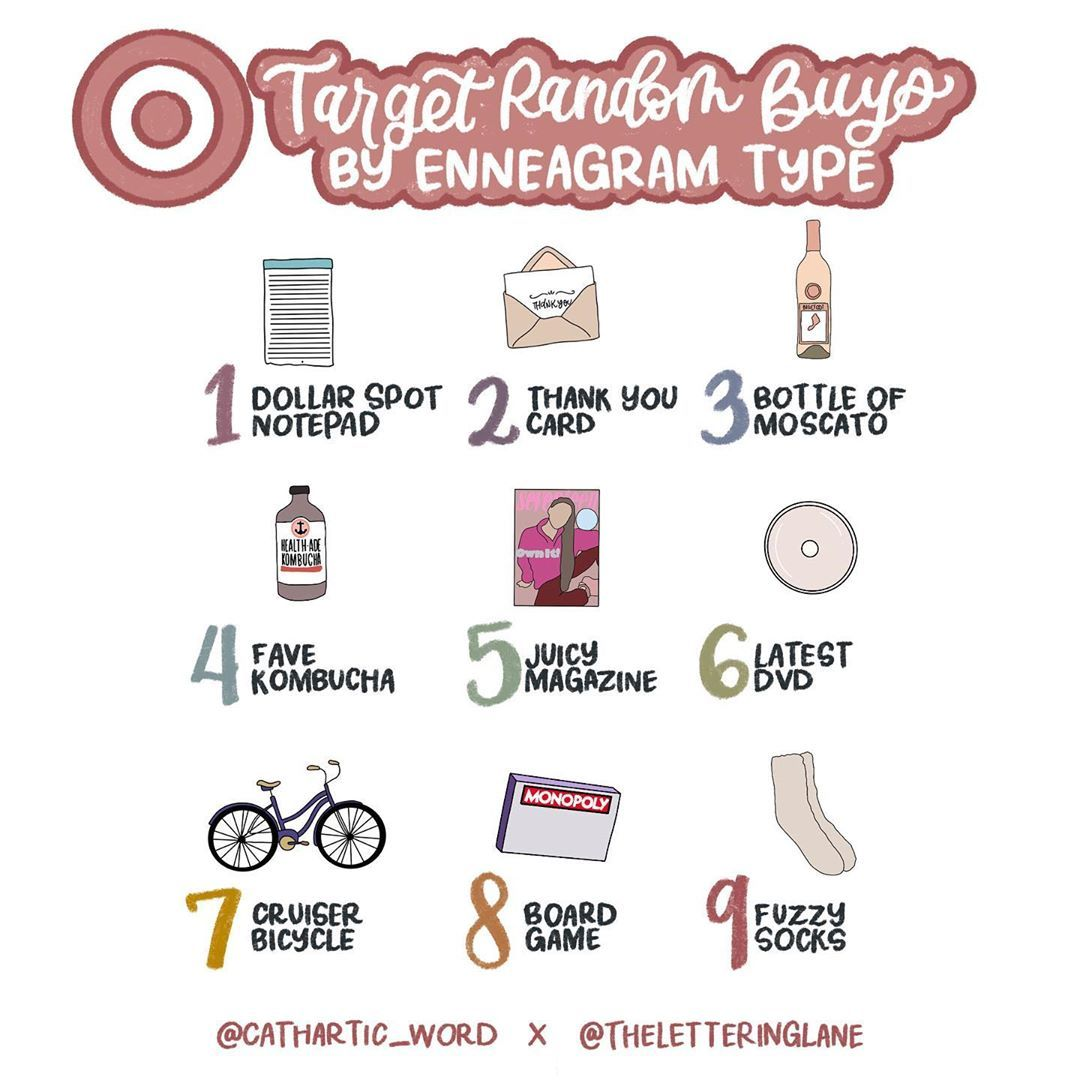 """Erin Roach on Instagram: """"I have teamed up with my good friend @theletteringlane again to bring you random buys at target by each enneagram type. This one killed me.…"""""""
