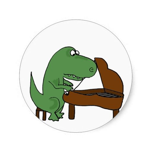Funny t rex dinosaur playing piano classic round sticker