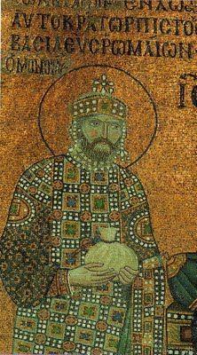 Detalle mosaico catedral Hagia Sofía. Emperador Constantino vestiduras imperiales (s. XI)