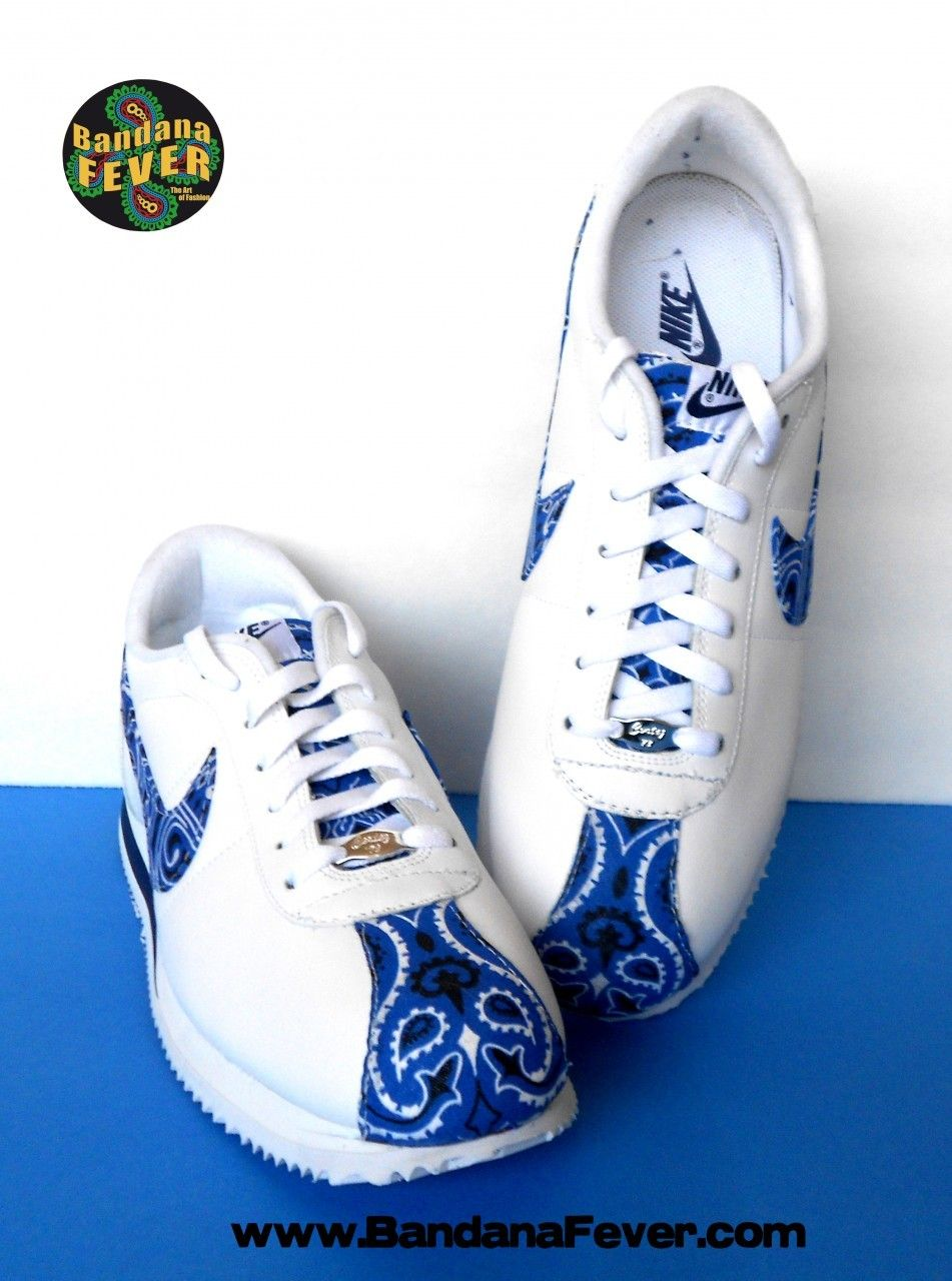 outlet store b898b a540c ... shoes Bandana Fever - - Bandana Fever Custom Bandana Nike Cortez  Leather WhiteNavyRoyal ...