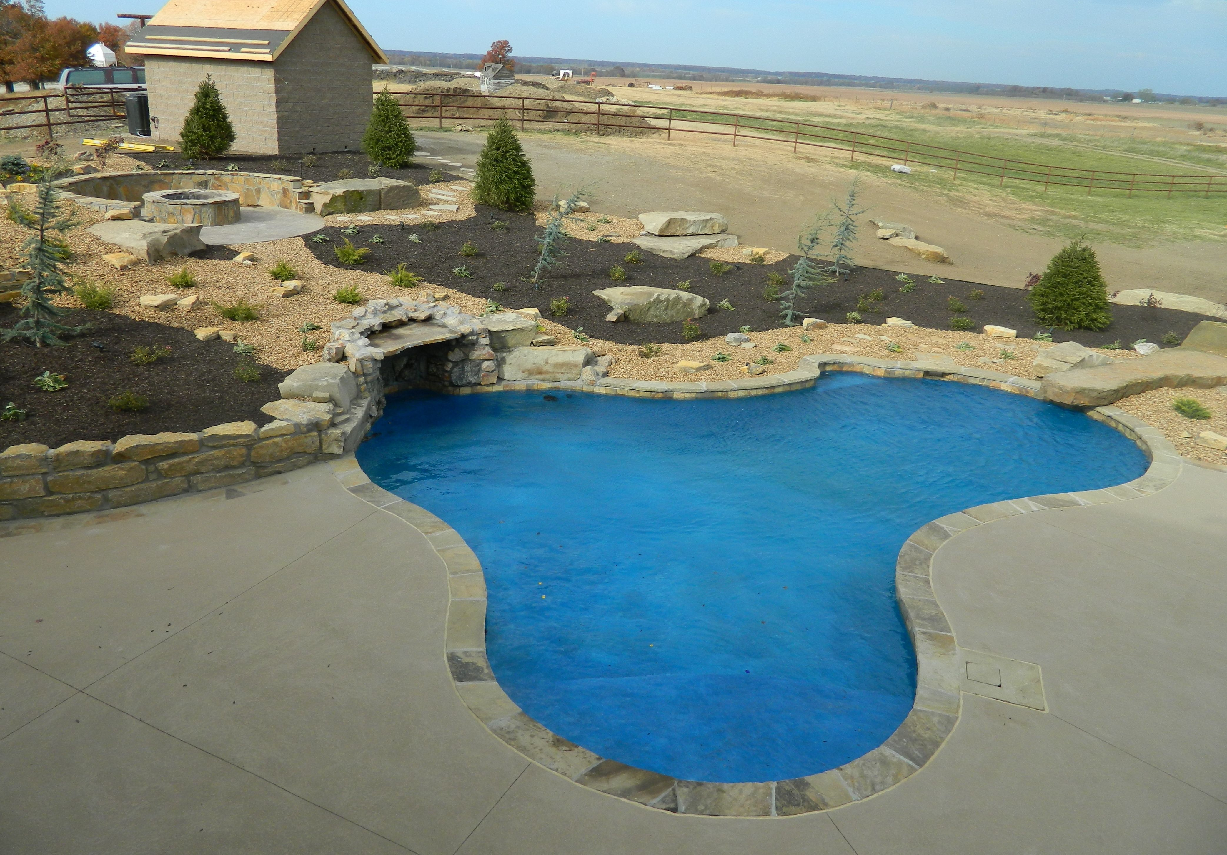 Blue Haven Pools Kc  Combination Sportdiving Pool Grotto Waterfall,