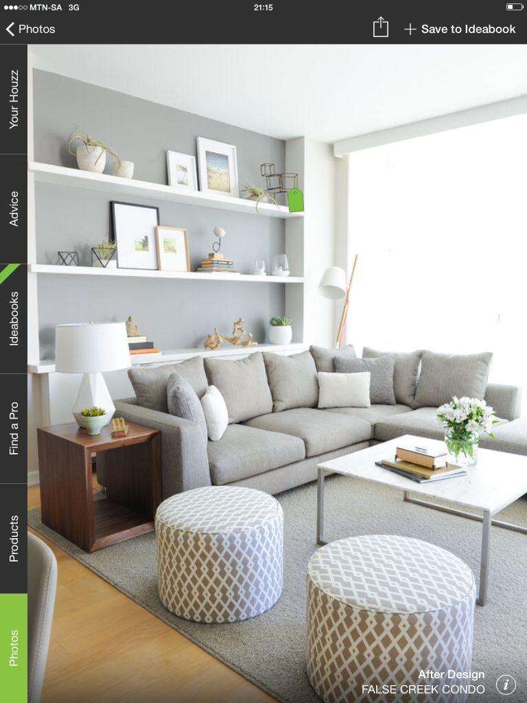 Grey lounge suite + loving the shelving also | Lounge ideas ...