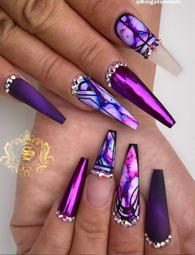 6 Nail Matte Coffin Purple Acrylicnailsglitter In 2020 Purple Nail Designs Purple Acrylic Nails Purple Nails