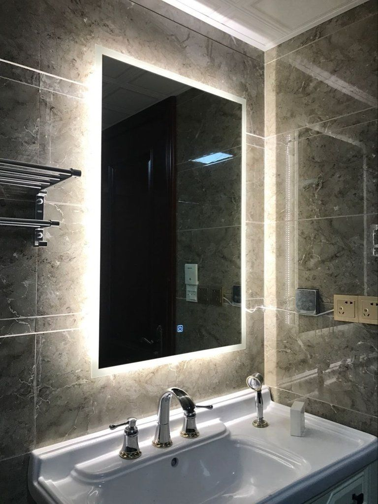 Box Diffusers Led Backlit Bathroom Mirror Vanity Square Wall Mount Bathroom Finger Touch Light Mirror Bat Diy Vanity Mirror Backlit Bathroom Mirror Bath Mirror