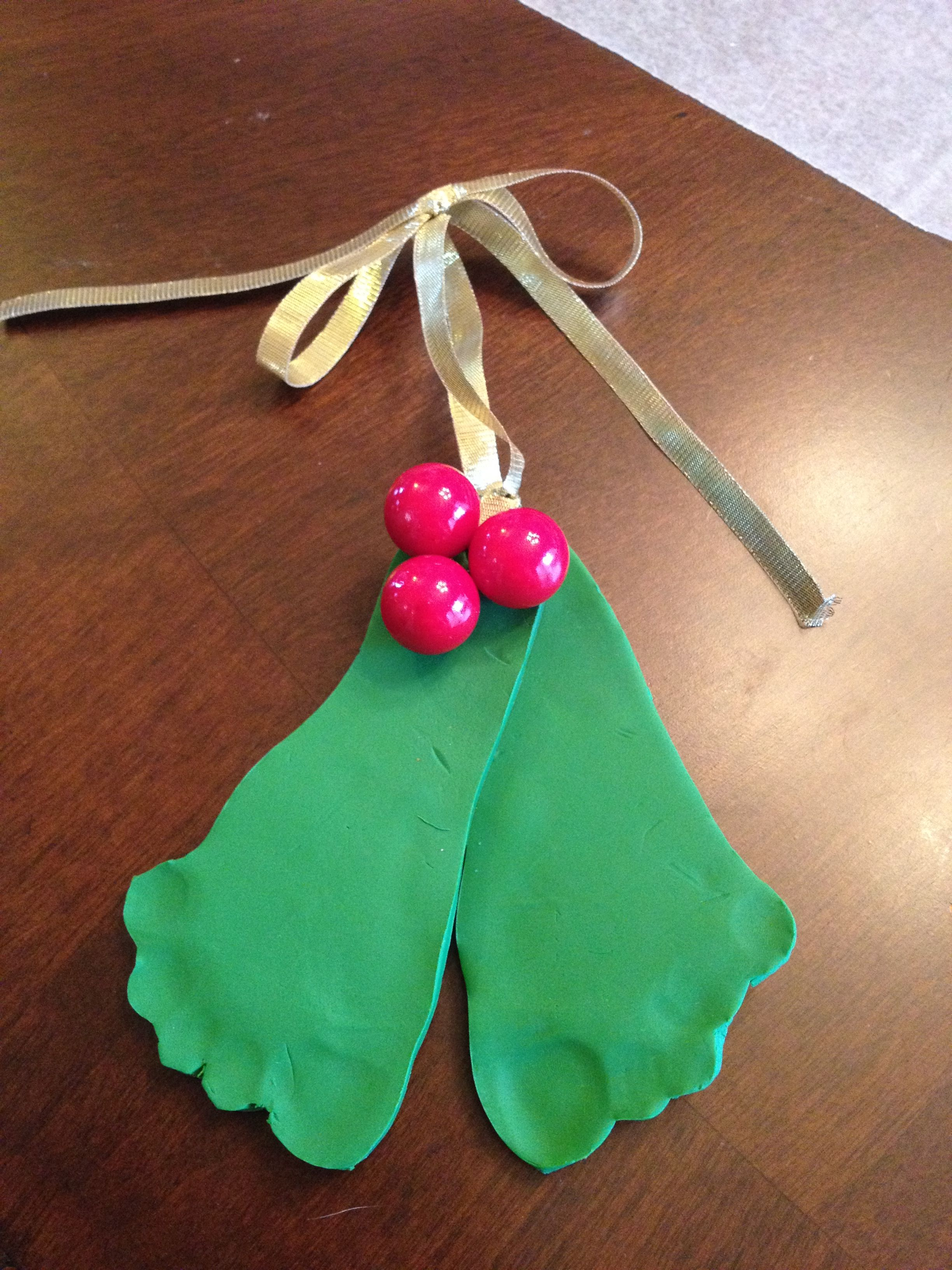 Christmas ornament made from baking clay and with the help ...