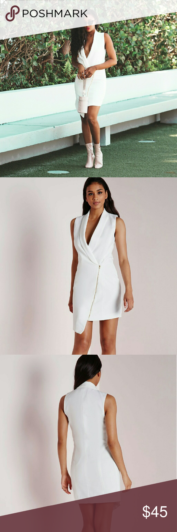 34c5360a5f88e Missguided Crepe Sleeveless Blazer Dress Ensure all eyes are on you in this  chic white blazer
