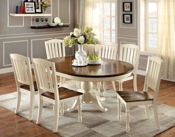 7 Pc Harrisburg Collection Country Style Oval Round Two Tone Vintage White And Dark Oak Finish Wood Dinin Oval Table Dining Dining Room Sets Farmhouse Dining
