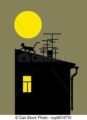 Illustration - Chat, Silhouette, Maison, Toit - Banque D