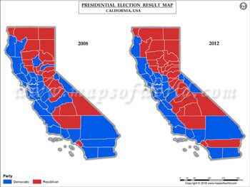 California Election Results Map 2008 Vs 2012 | USA President\'s ...