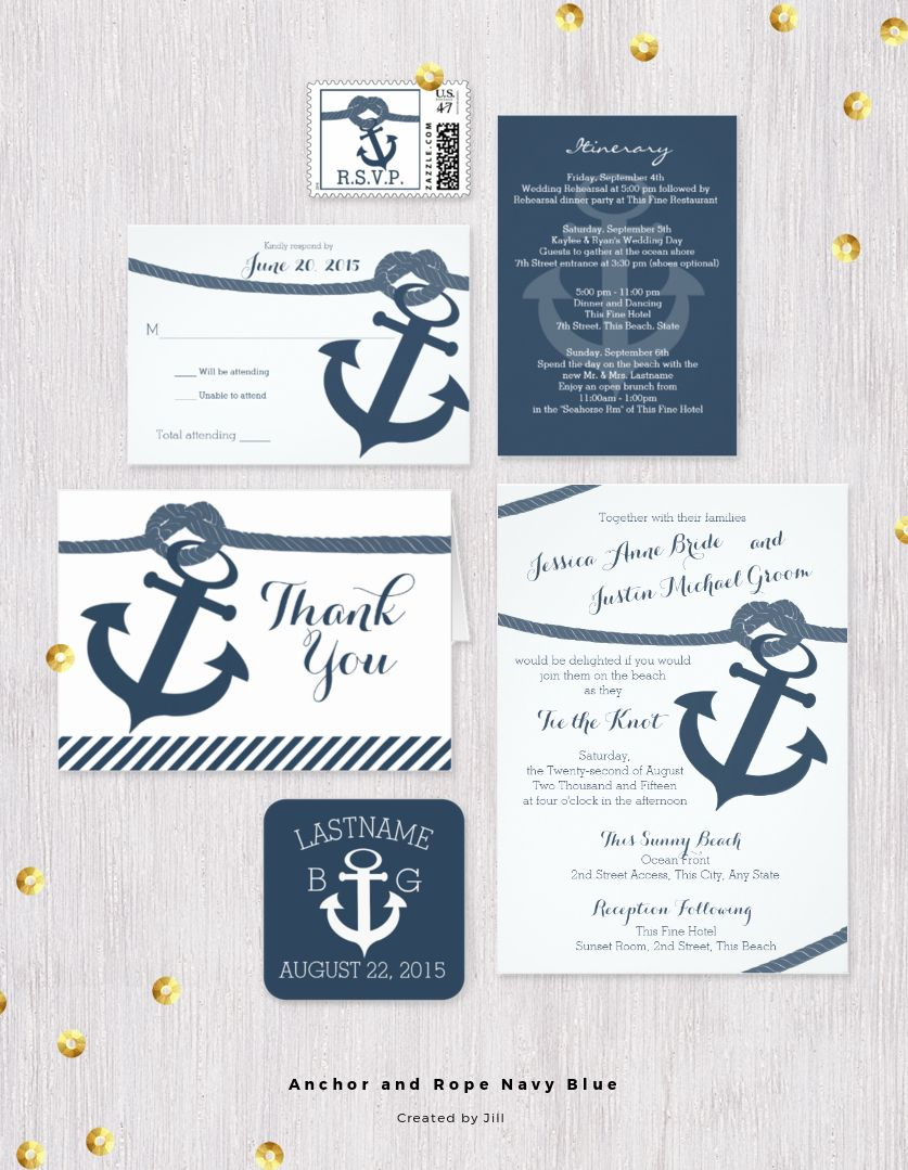 Nautical theme navy blue anchor and rope wedding invitation set ...