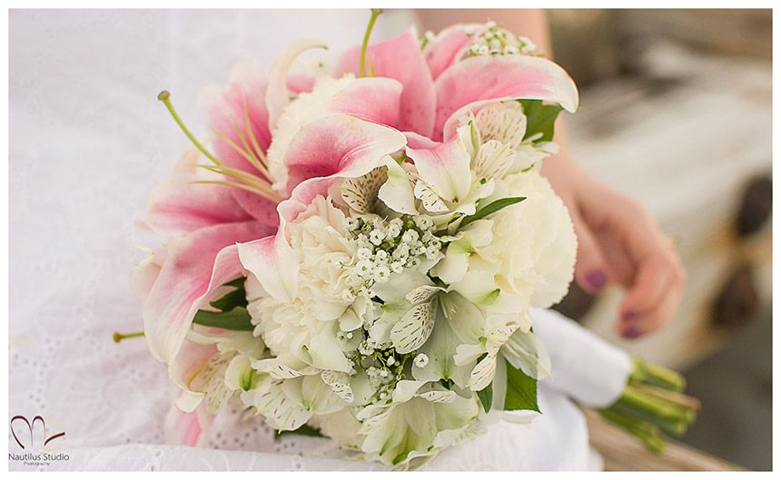 Small bridal bouquet in white and pink with light pink oriental ...