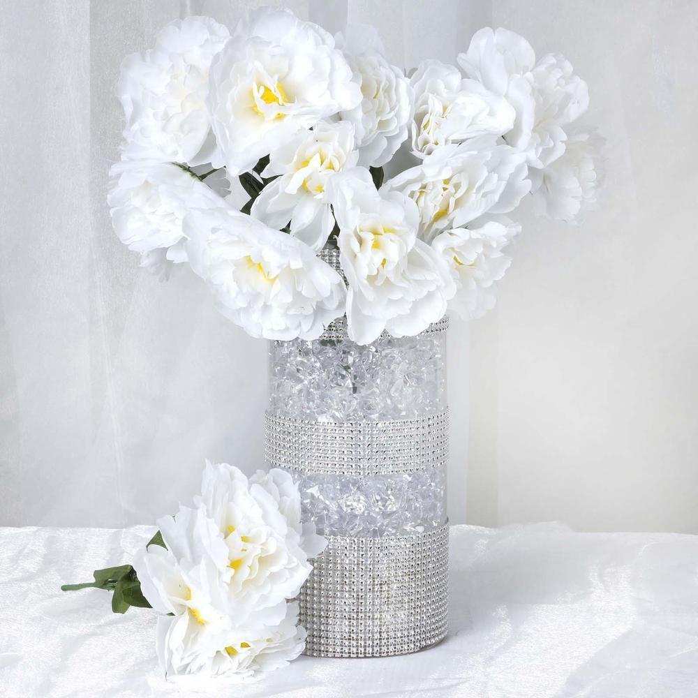 12 Bush 60 Pcs White Artificial Silk Peony Flowers Silk