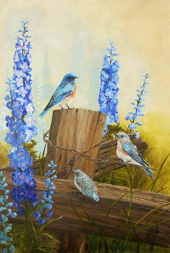 """Bluebird Family & Delphiniums"" original oil painting by Johanna Lerwick - Wildlife/Nature Artist.  26.75"" x 18"" Framed. Giclee prints available."