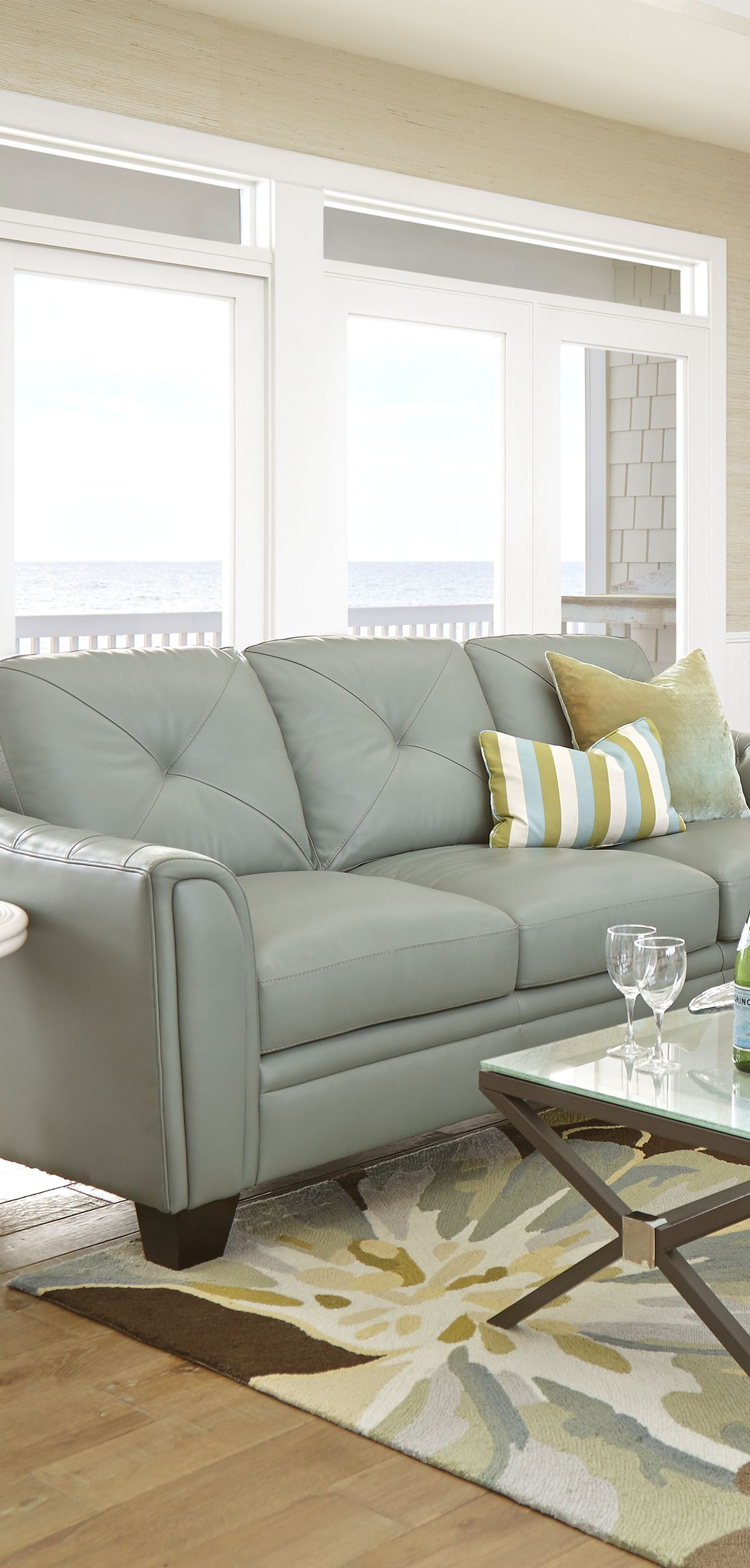 cindy crawford light blue sofa small sleeper sofas for spaces home marcella spa leather 3 pc living
