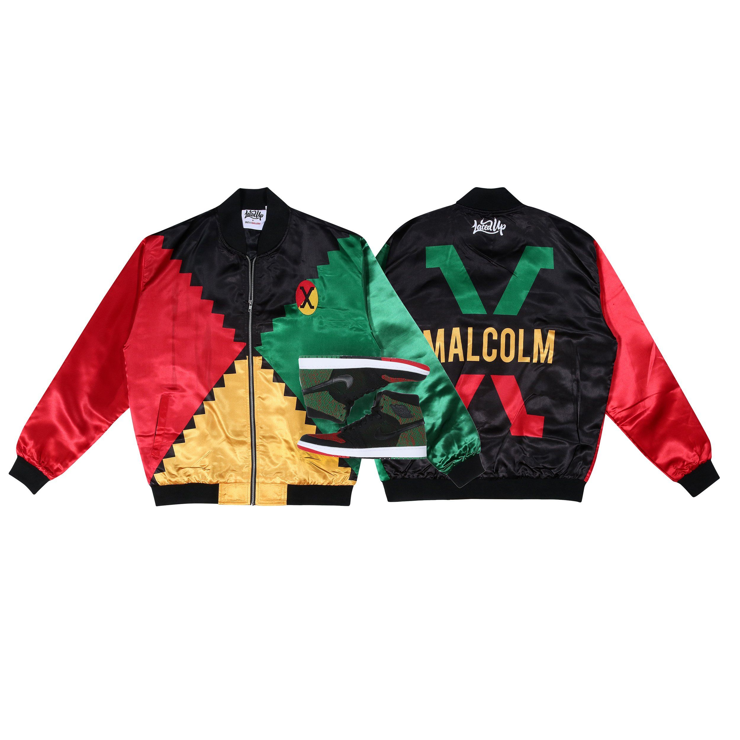 814ae8454a Black History Month (Malcolm X) Satin Bomber Jacket