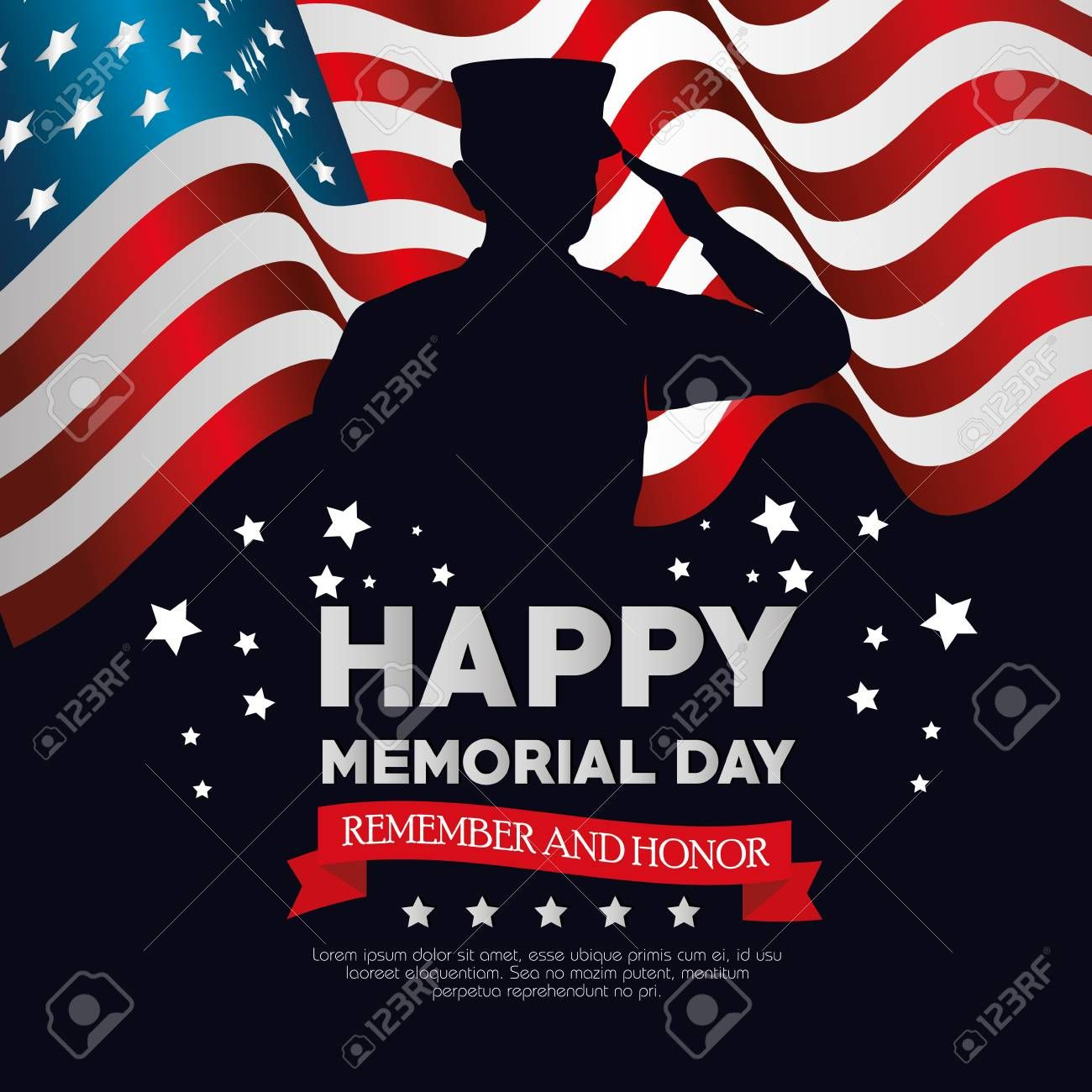 Happy Memorial Day Card With Soldier Silhuette Vector Illustration Design Affiliate Day Card Happy Memo Memorial Day Happy Memorial Day Logo Clipart