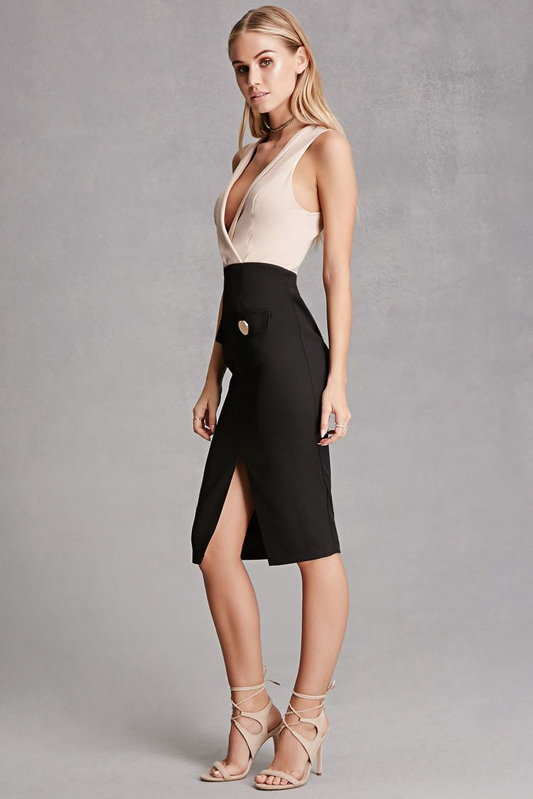 A sleeveless bodycon midi dress by Selfie Leslie™ featuring a knit surplice top with a shawl collar, a woven skirt with a center-front vent, front mock flap-pockets with large high polish buttons, and an invisible back zipper.