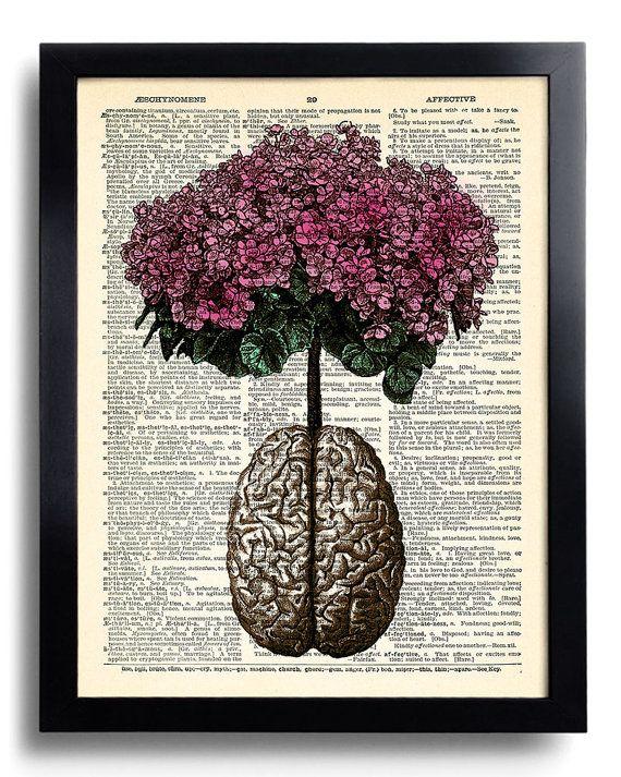 Anatomía humana cerebro flores Diccionario impresión arte | Florales ...