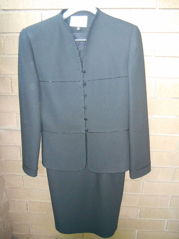 Kasper for ASL Size 8 Black Cocktail Suit Dressy Formal Beads Back Slit #Kasper #SkirtSuit