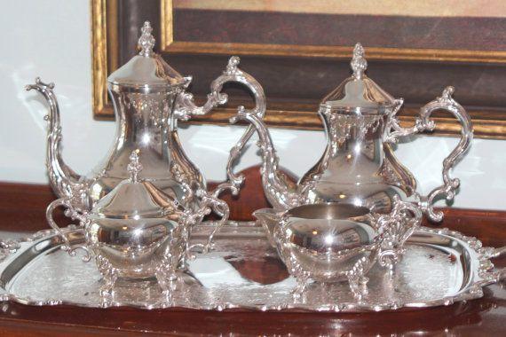 F B Rogers 5 Piece Silver Plate Tea Set Coffee by PearlsParlor $285.00 & F B Rogers 5 Piece Silver Plate Tea Set - Coffee Pot - Teapot ...