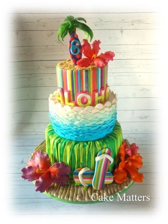 Aloha Birthday cake BOOM DISCO FLUO Pinterest Birthday cakes