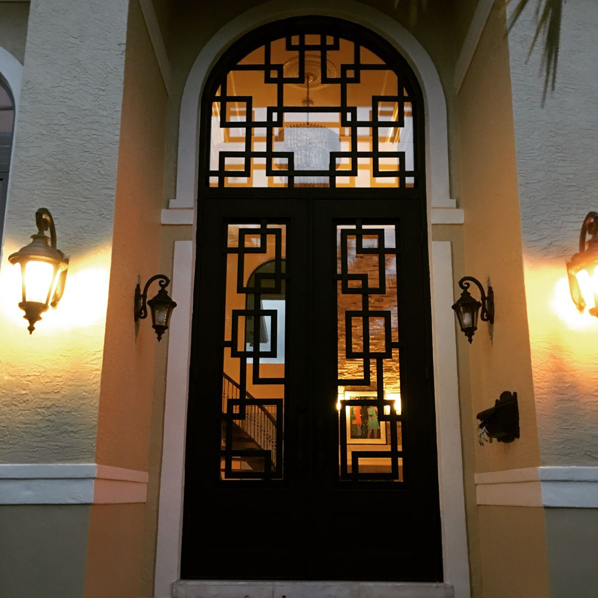 15ft Tall Wrought Iron Door And Transom In 2020 Wrought Iron Doors Iron Doors Beautiful Doors