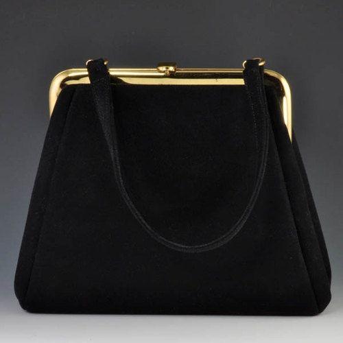 Vintage 1960 S Suede Black Hand Bag Peck Nyc