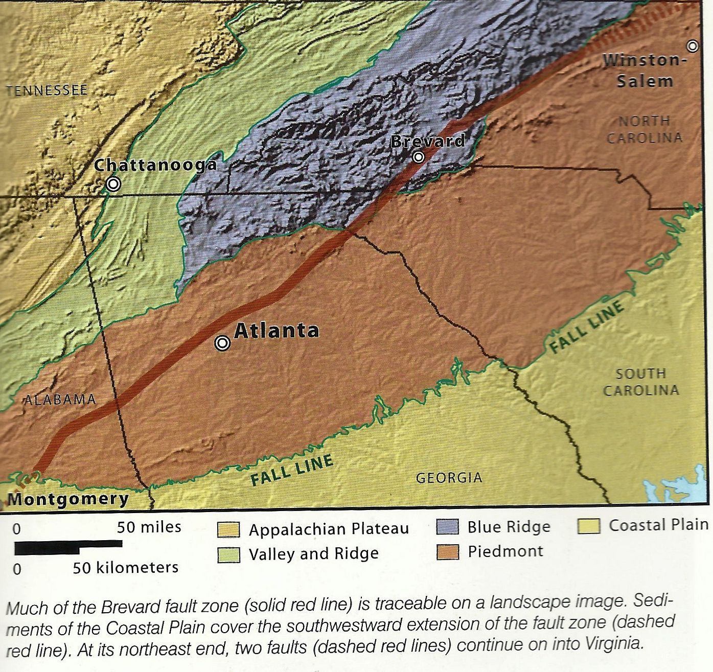 Running SWNE across AL, GA, & N.C., the Brevard Fault