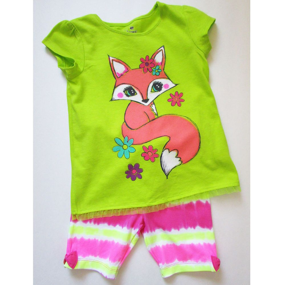 Jumping Beans Toddler Girl's 2Pc Bike Short and Top Set Size 4T - Foxy #JumpingBeans #Everyday