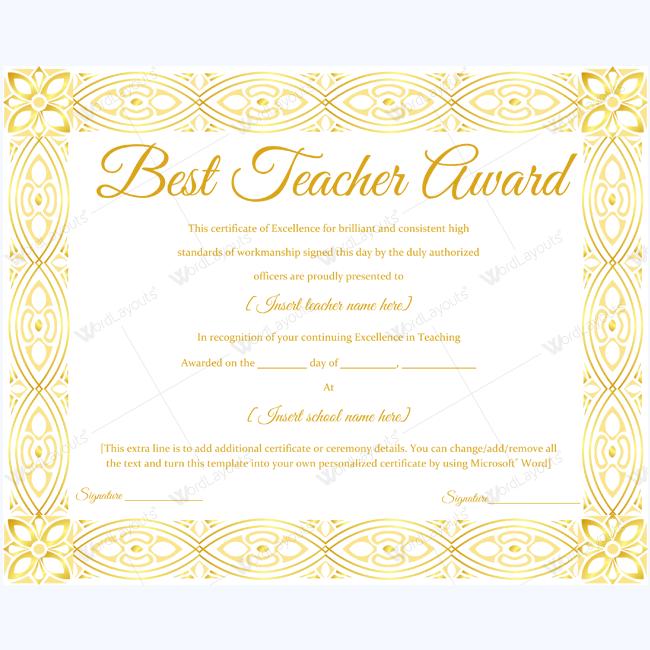 best teacher award certificate 15