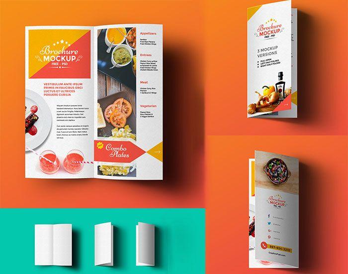 Free BiFold Brochure Mockup  Mockups Psd Templates For Designers