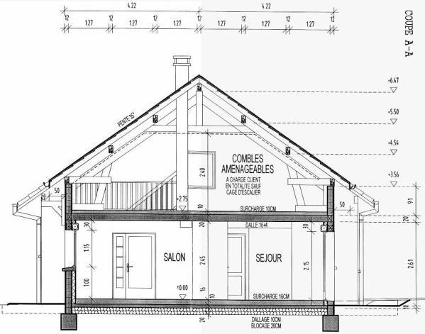 Coupe AA - La maison du Nounours Plan Lecture de plan  Dessin d - dessiner son plan de maison
