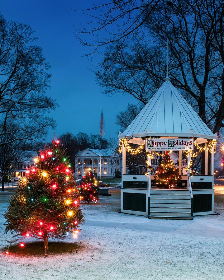 Christmas Escapes 2020 Connecticut Village Green Holiday Greetings  New Milford Ct   by T S Photo Art