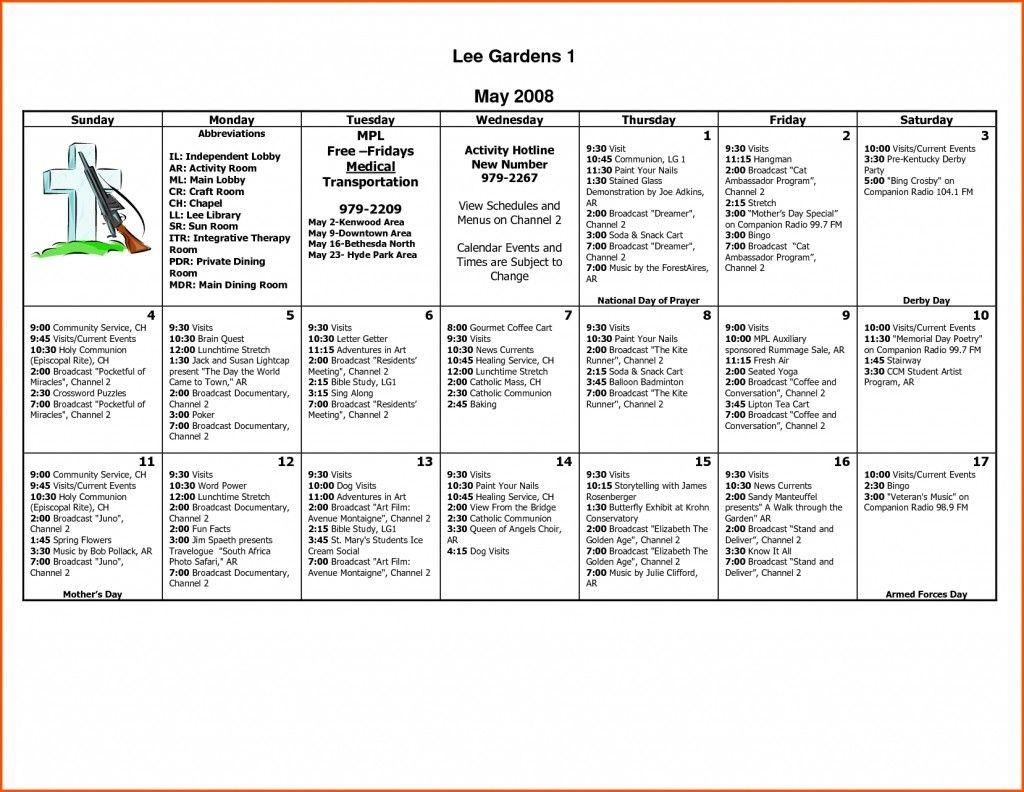 Nursing Home Activity Calendar Template Printable Calendar Design Nursing Home Activities Calendar Design