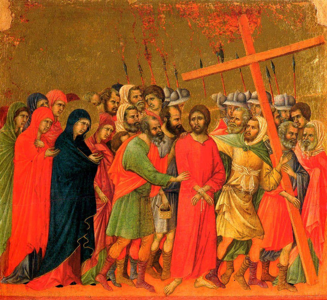 Duccio di Boninsegna- Andata al Calvario - Pannello della Maestà del Duomo di Siena - Siena, Museo dell'Opera del Duomo
