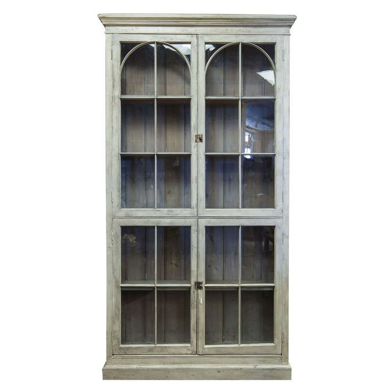 Gentil Tall French Painted And Glazed Shallow Display Cabinet | 1stdibs.com